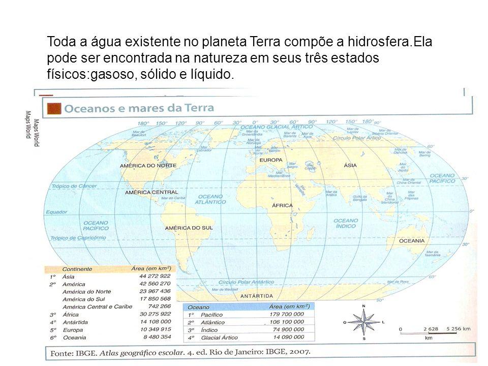 Toda a água existente no planeta Terra compõe a hidrosfera