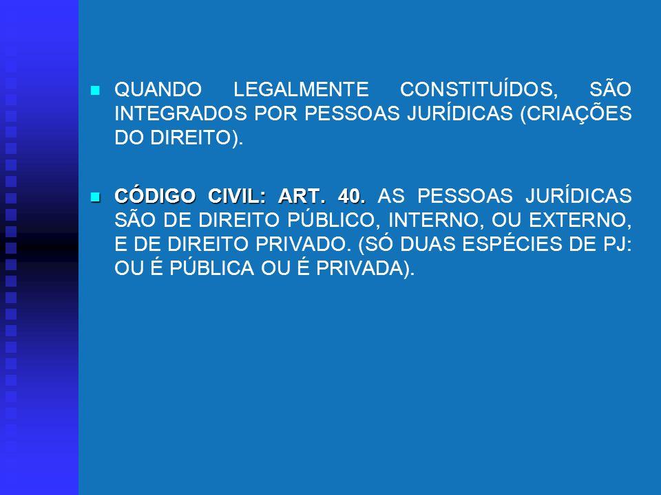 QUANDO LEGALMENTE CONSTITUÍDOS, SÃO INTEGRADOS POR PESSOAS JURÍDICAS (CRIAÇÕES DO DIREITO).