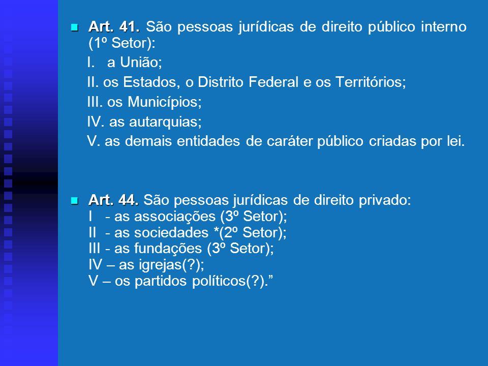 Art. 41. São pessoas jurídicas de direito público interno (1º Setor):
