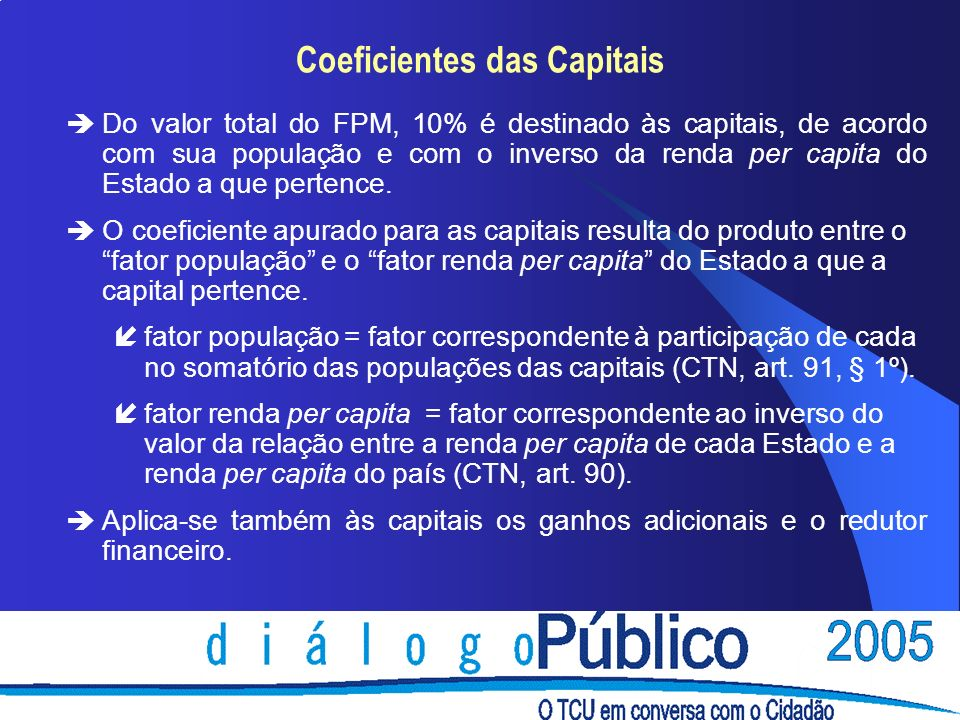 Coeficientes das Capitais
