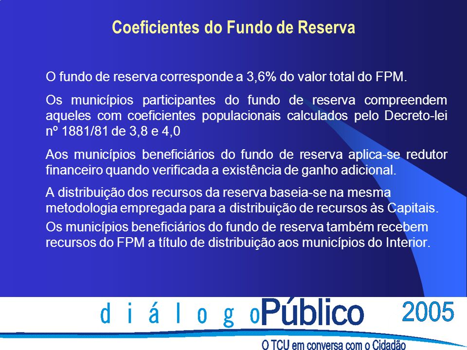 Coeficientes do Fundo de Reserva