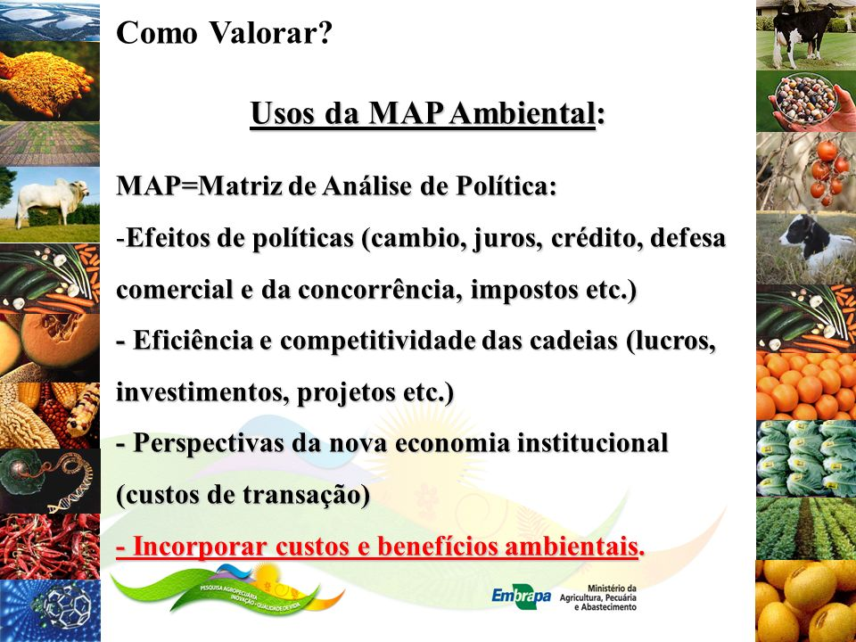 Como Valorar Usos da MAP Ambiental: