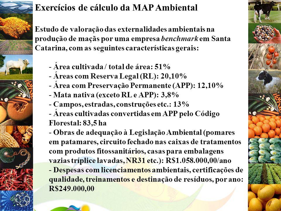 Exercícios de cálculo da MAP Ambiental
