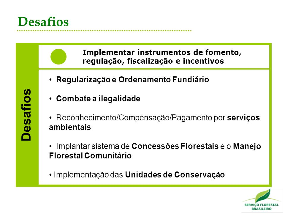 Desafios Desafios Regularização e Ordenamento Fundiário