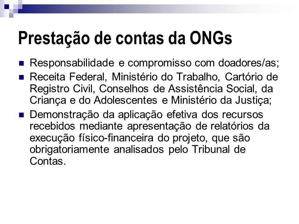 Prestação de contas da ONGs