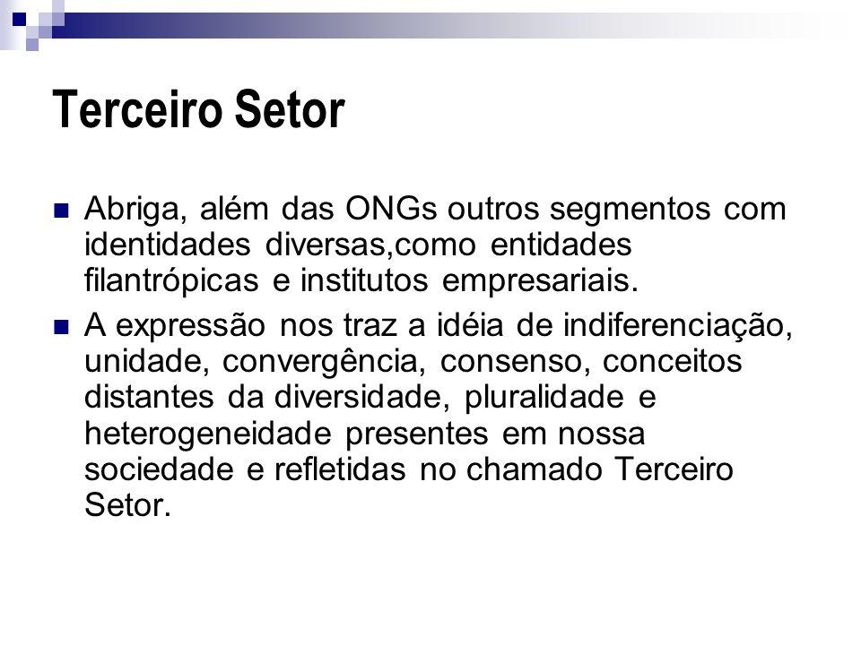 Terceiro Setor Abriga, além das ONGs outros segmentos com identidades diversas,como entidades filantrópicas e institutos empresariais.