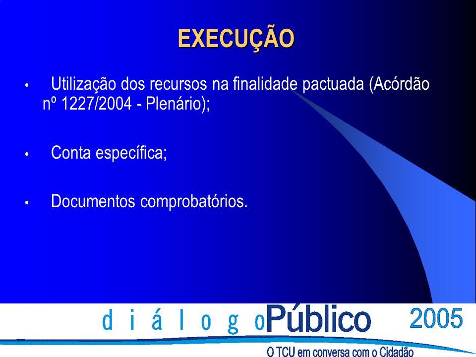 EXECUÇÃOUtilização dos recursos na finalidade pactuada (Acórdão nº 1227/2004 - Plenário); Conta específica;