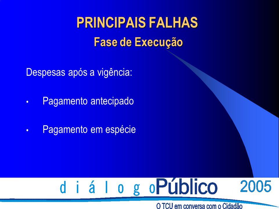 PRINCIPAIS FALHAS Fase de Execução Despesas após a vigência: