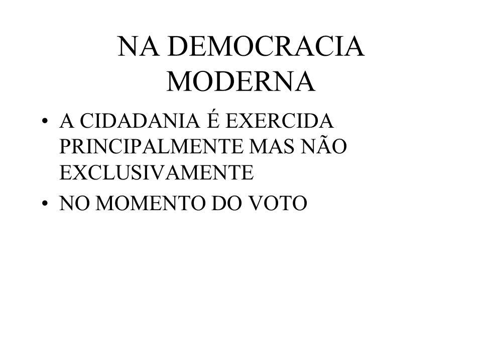 NA DEMOCRACIA MODERNA A CIDADANIA É EXERCIDA PRINCIPALMENTE MAS NÃO EXCLUSIVAMENTE.