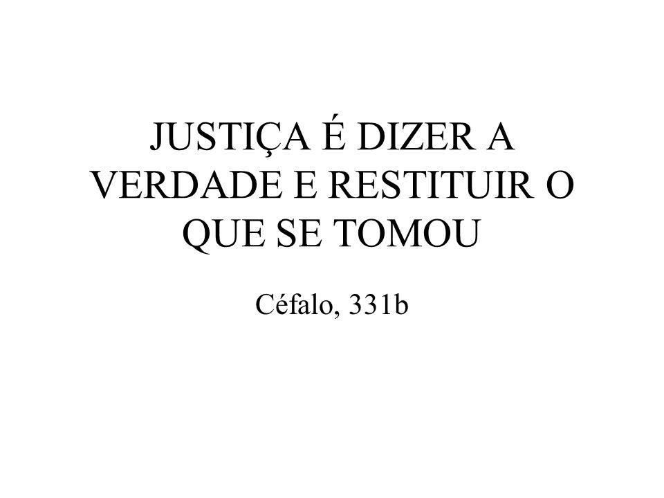 JUSTIÇA É DIZER A VERDADE E RESTITUIR O QUE SE TOMOU