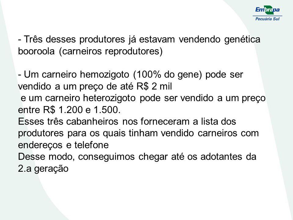- Três desses produtores já estavam vendendo genética booroola (carneiros reprodutores) - Um carneiro hemozigoto (100% do gene) pode ser vendido a um preço de até R$ 2 mil e um carneiro heterozigoto pode ser vendido a um preço entre R$ 1.200 e 1.500.