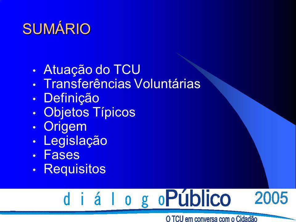 SUMÁRIO Atuação do TCU Transferências Voluntárias Definição