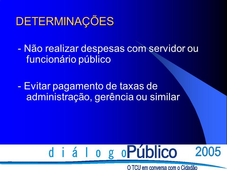 DETERMINAÇÕES- Não realizar despesas com servidor ou funcionário público.