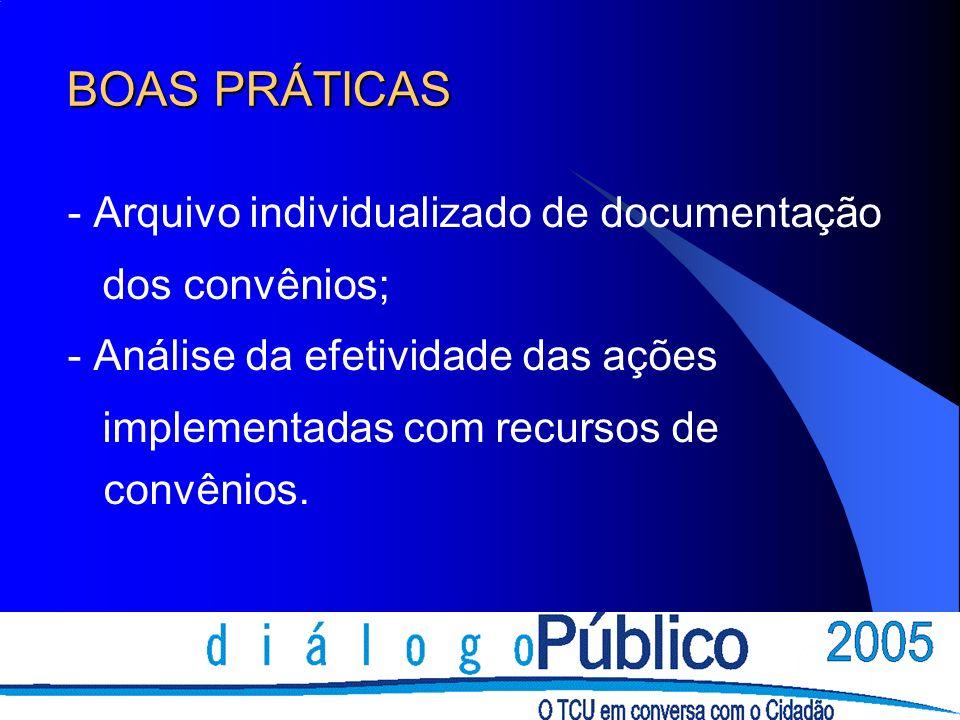 BOAS PRÁTICAS - Arquivo individualizado de documentação dos convênios;