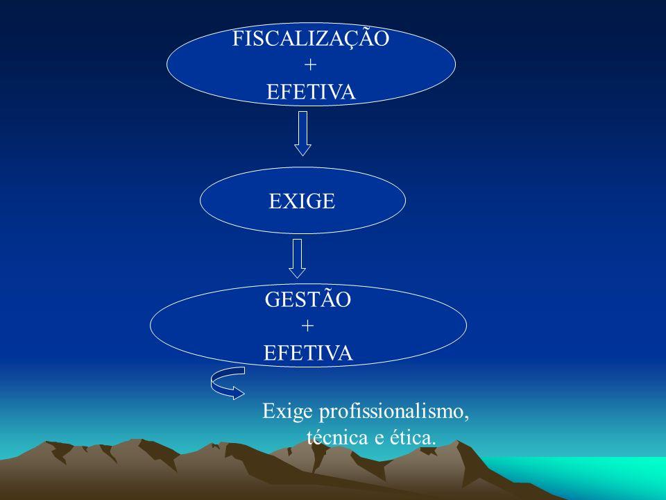 FISCALIZAÇÃO + EFETIVA EXIGE GESTÃO + EFETIVA Exige profissionalismo, técnica e ética.