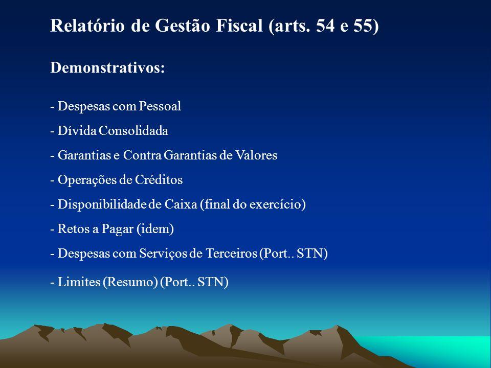 Relatório de Gestão Fiscal (arts. 54 e 55)