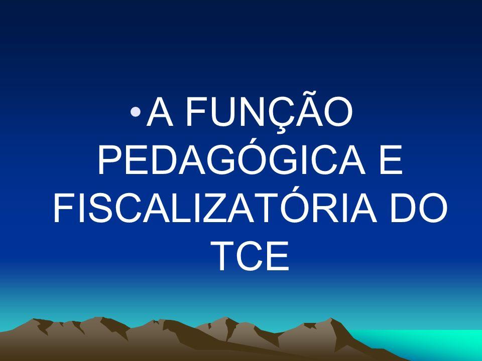 A FUNÇÃO PEDAGÓGICA E FISCALIZATÓRIA DO TCE