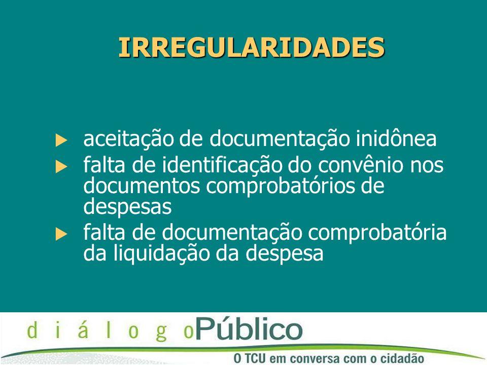 IRREGULARIDADES aceitação de documentação inidônea