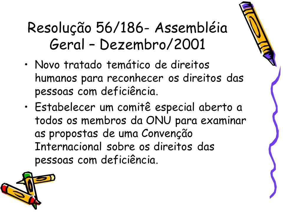 Resolução 56/186- Assembléia Geral – Dezembro/2001
