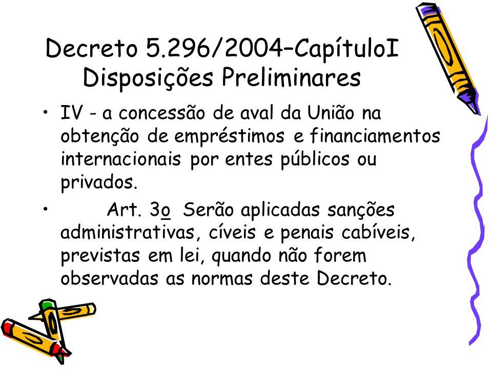 Decreto 5.296/2004–CapítuloI Disposições Preliminares