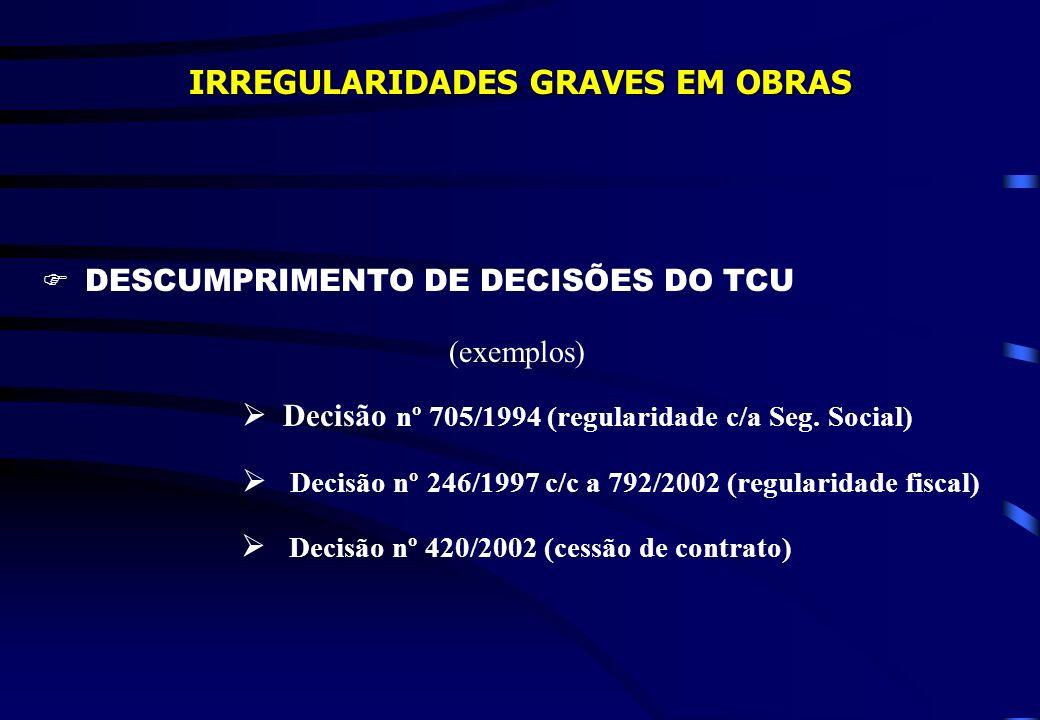 IRREGULARIDADES GRAVES EM OBRAS