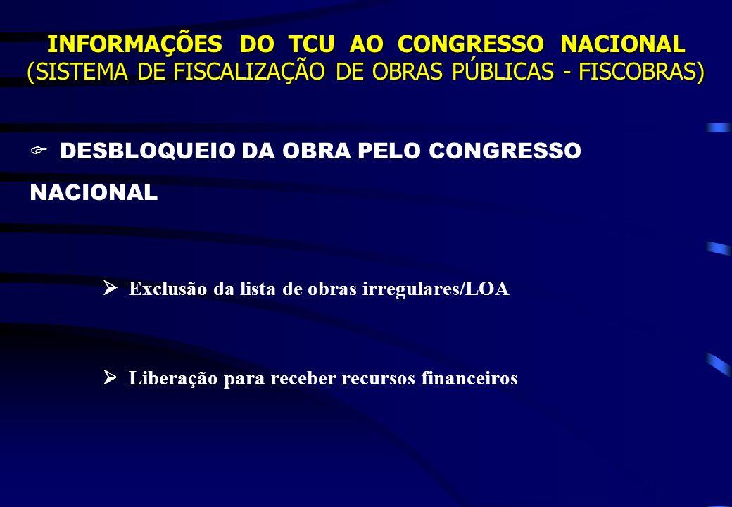  DESBLOQUEIO DA OBRA PELO CONGRESSO NACIONAL
