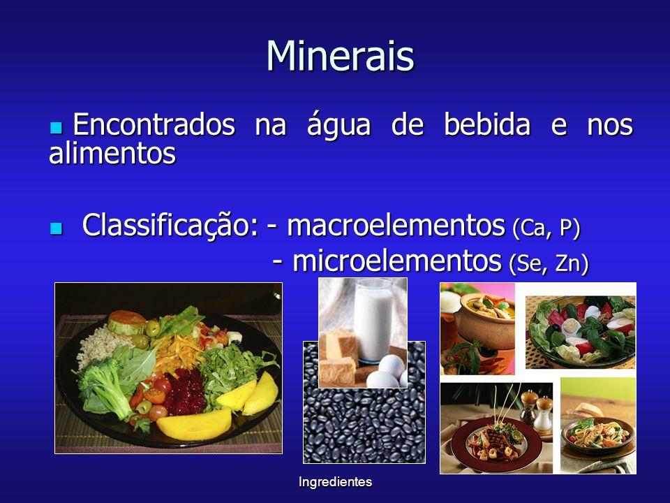 Minerais Encontrados na água de bebida e nos alimentos