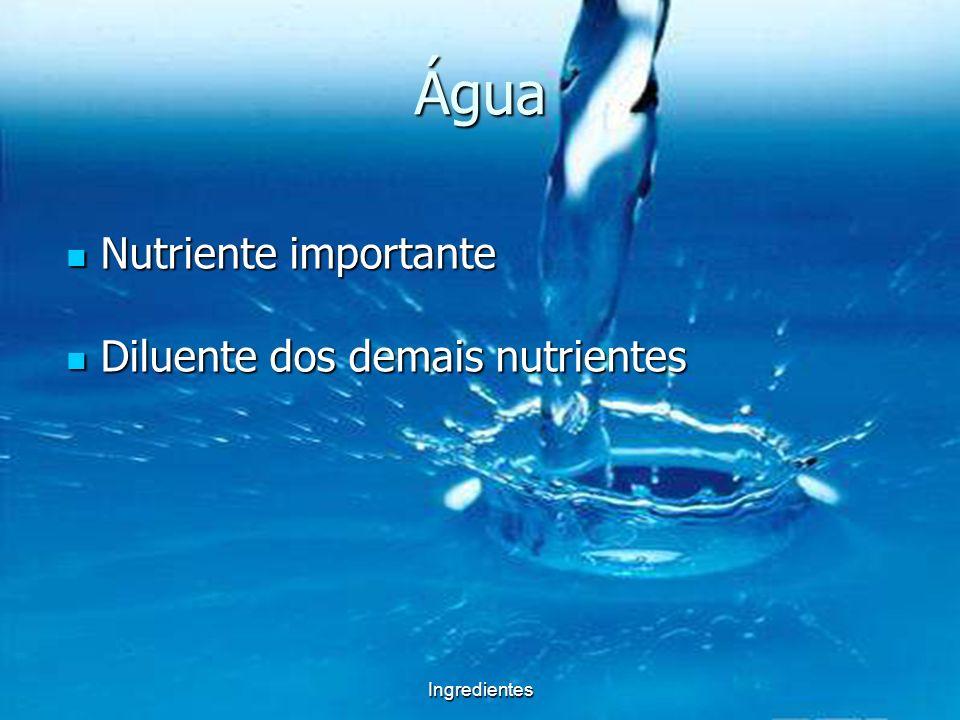 Água Nutriente importante Diluente dos demais nutrientes Ingredientes