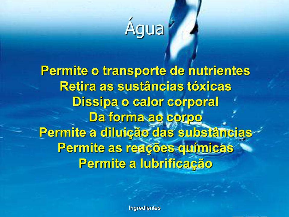 Água Permite o transporte de nutrientes Retira as sustâncias tóxicas