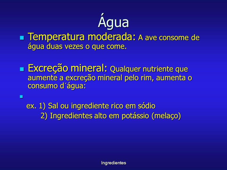 Água Temperatura moderada: A ave consome de água duas vezes o que come.