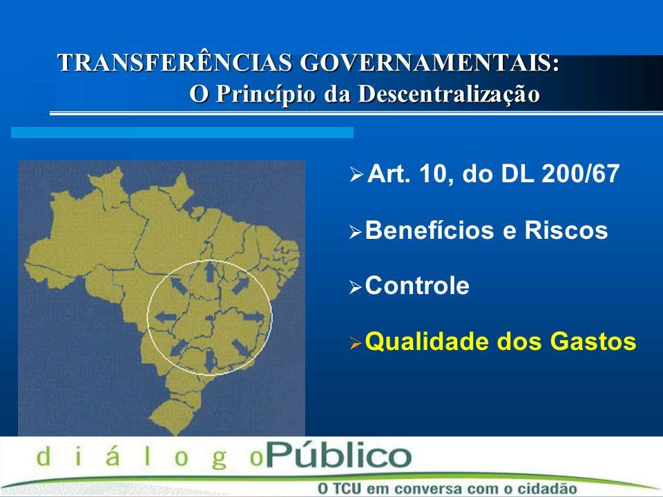 TRANSFERÊNCIAS GOVERNAMENTAIS: O Princípio da Descentralização