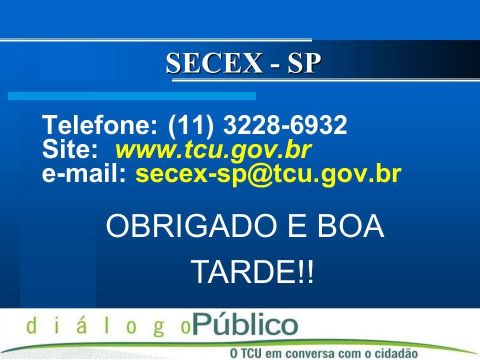 OBRIGADO E BOA TARDE!! SECEX - SP Telefone: (11) 3228-6932