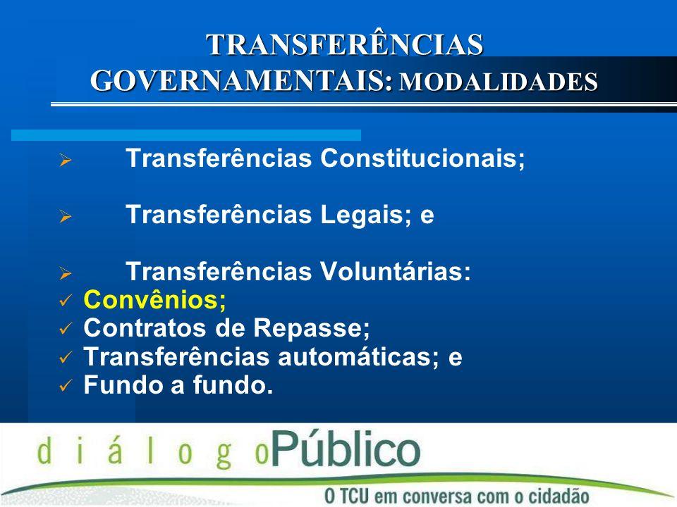 TRANSFERÊNCIAS GOVERNAMENTAIS: MODALIDADES
