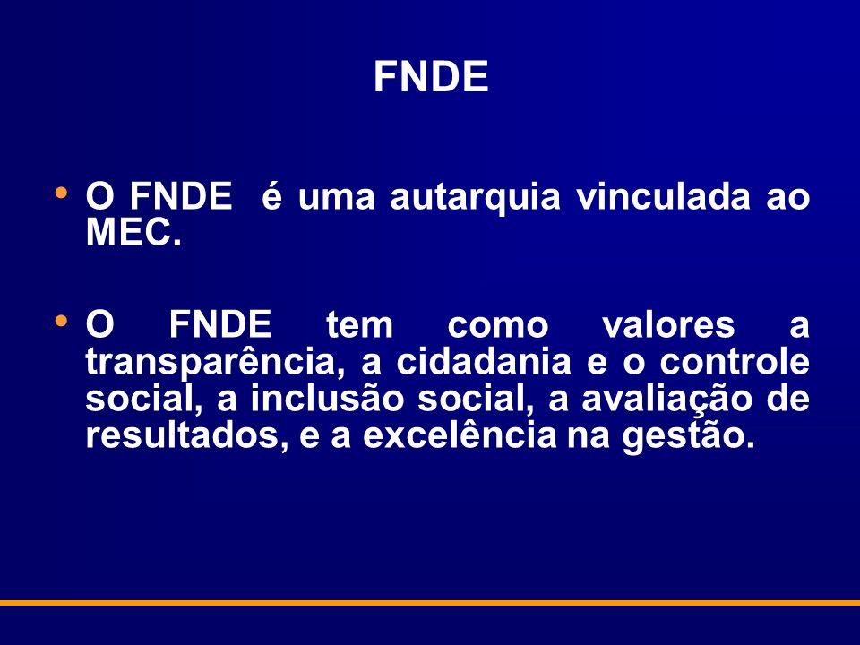 FNDE O FNDE é uma autarquia vinculada ao MEC.