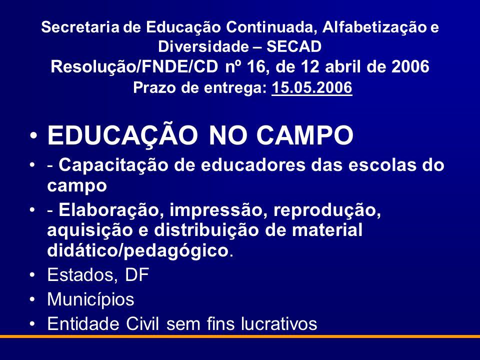 EDUCAÇÃO NO CAMPO - Capacitação de educadores das escolas do campo