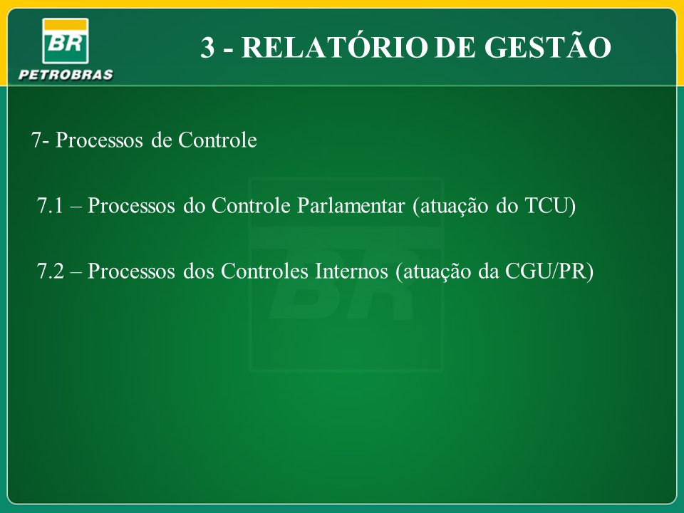 3 - RELATÓRIO DE GESTÃO 7- Processos de Controle