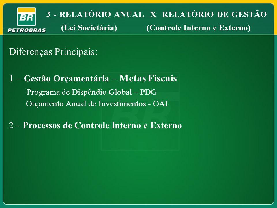 Diferenças Principais: 1 – Gestão Orçamentária – Metas Fiscais