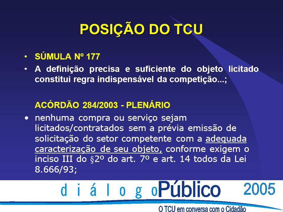 POSIÇÃO DO TCU ACÓRDÃO 284/2003 - PLENÁRIO SÚMULA Nº 177