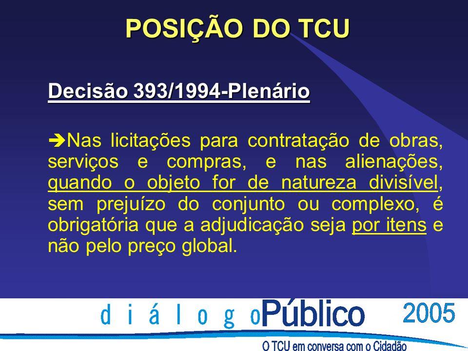 POSIÇÃO DO TCU Decisão 393/1994-Plenário