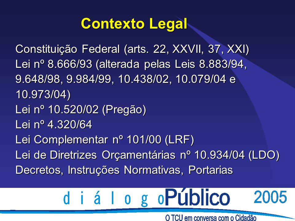 Contexto Legal Constituição Federal (arts.