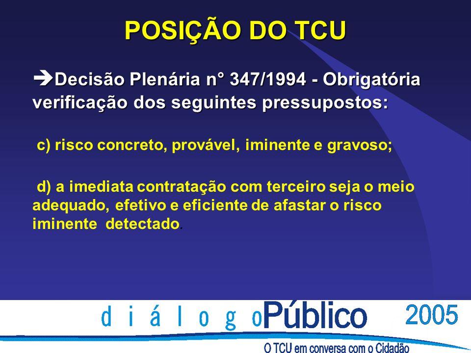 POSIÇÃO DO TCU Decisão Plenária n° 347/1994 - Obrigatória verificação dos seguintes pressupostos: c) risco concreto, provável, iminente e gravoso;