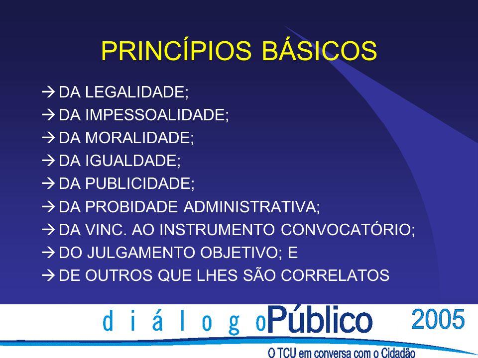 PRINCÍPIOS BÁSICOS DA LEGALIDADE; DA IMPESSOALIDADE; DA MORALIDADE;