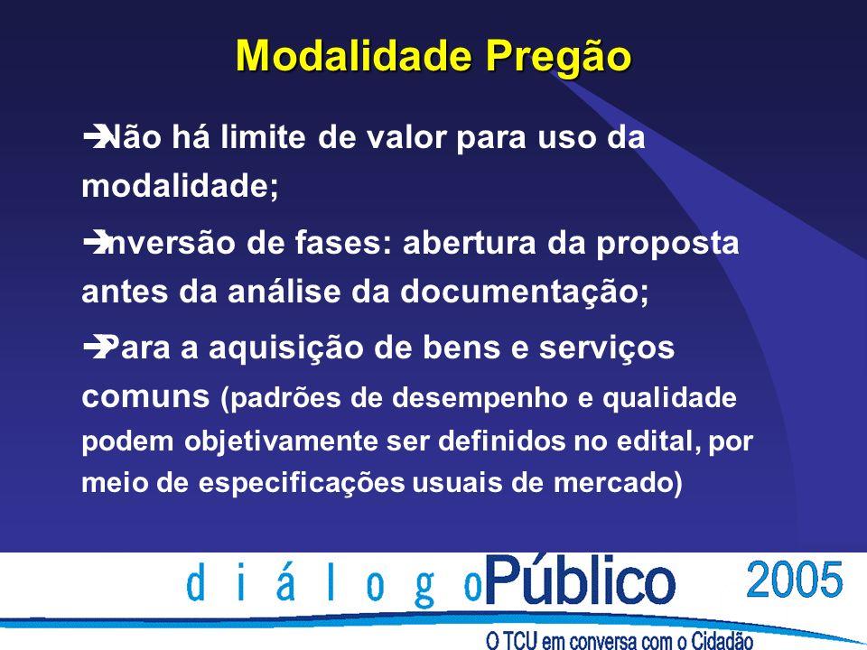 Modalidade Pregão Não há limite de valor para uso da modalidade;