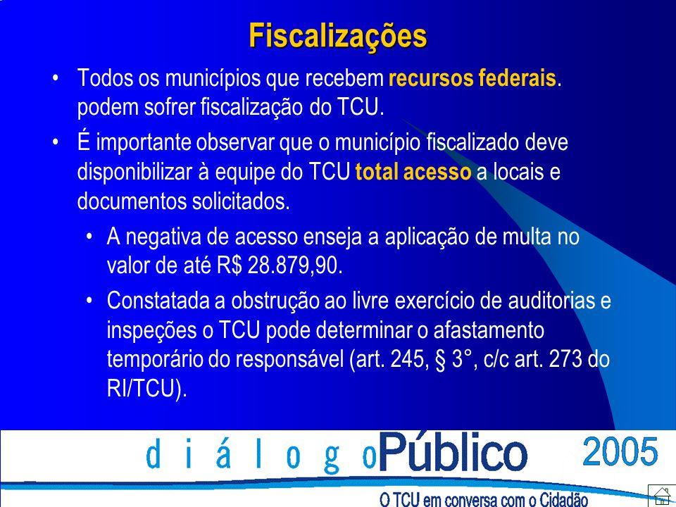 Fiscalizações Todos os municípios que recebem recursos federais. podem sofrer fiscalização do TCU.