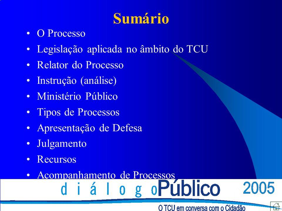 Sumário O Processo Legislação aplicada no âmbito do TCU