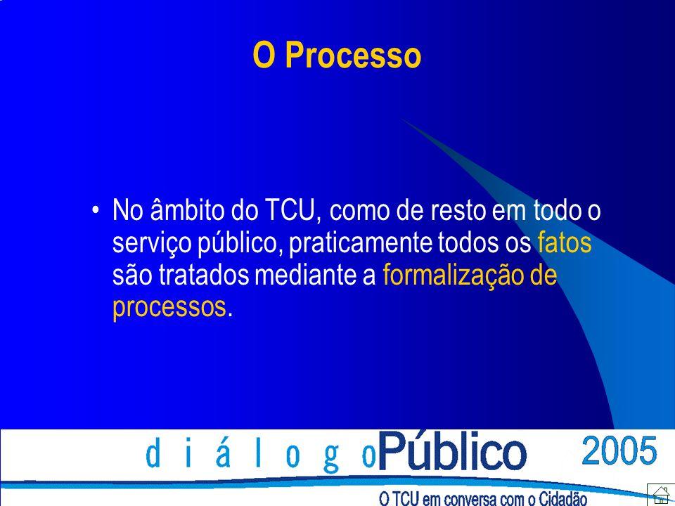 O Processo No âmbito do TCU, como de resto em todo o serviço público, praticamente todos os fatos são tratados mediante a formalização de processos.