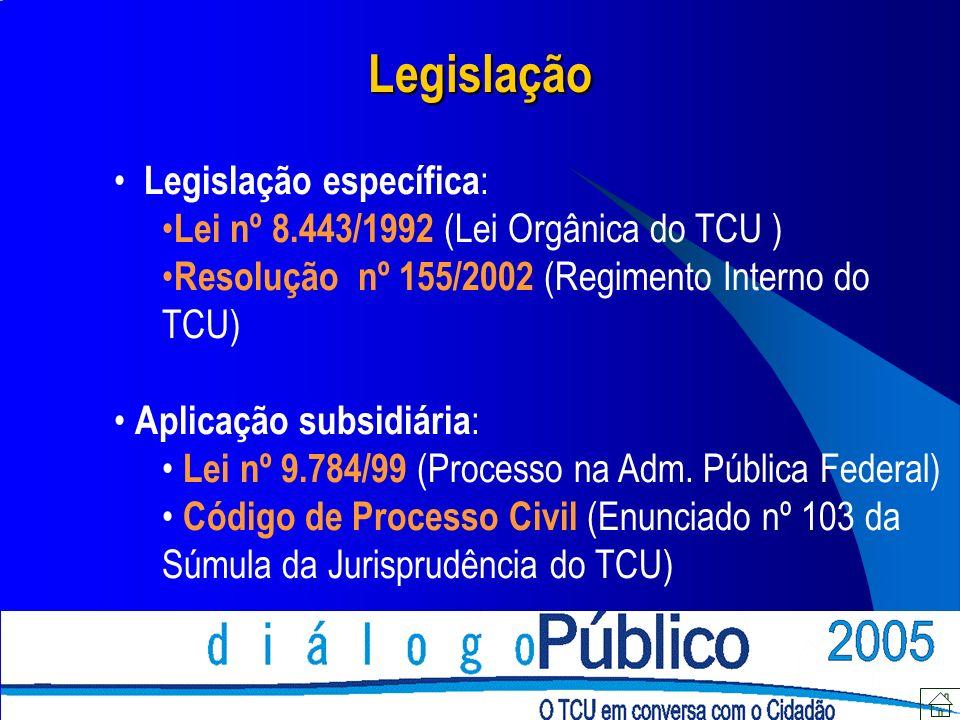 Legislação Legislação específica: