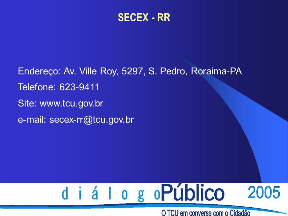 SECEX - RR Endereço: Av. Ville Roy, 5297, S. Pedro, Roraima-PA