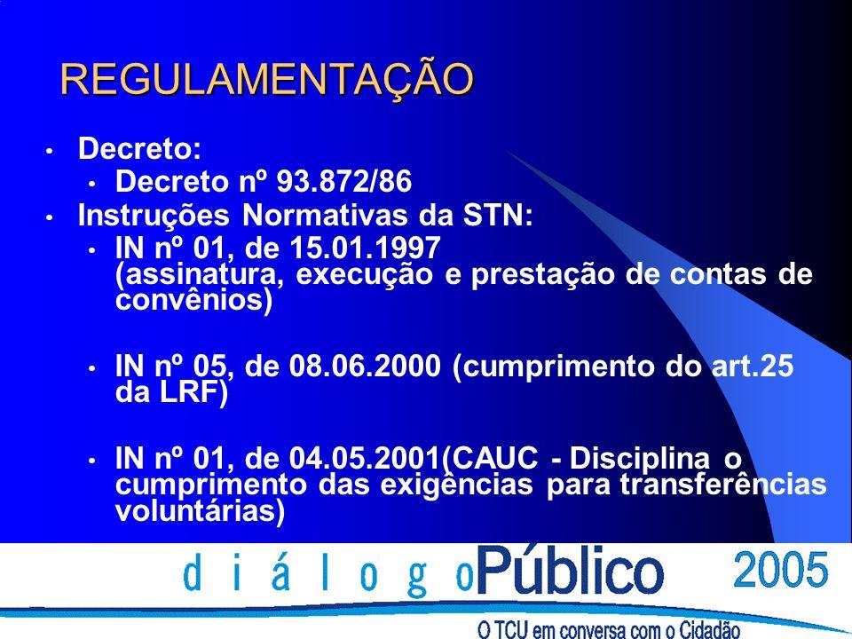 REGULAMENTAÇÃO Decreto: Decreto nº 93.872/86