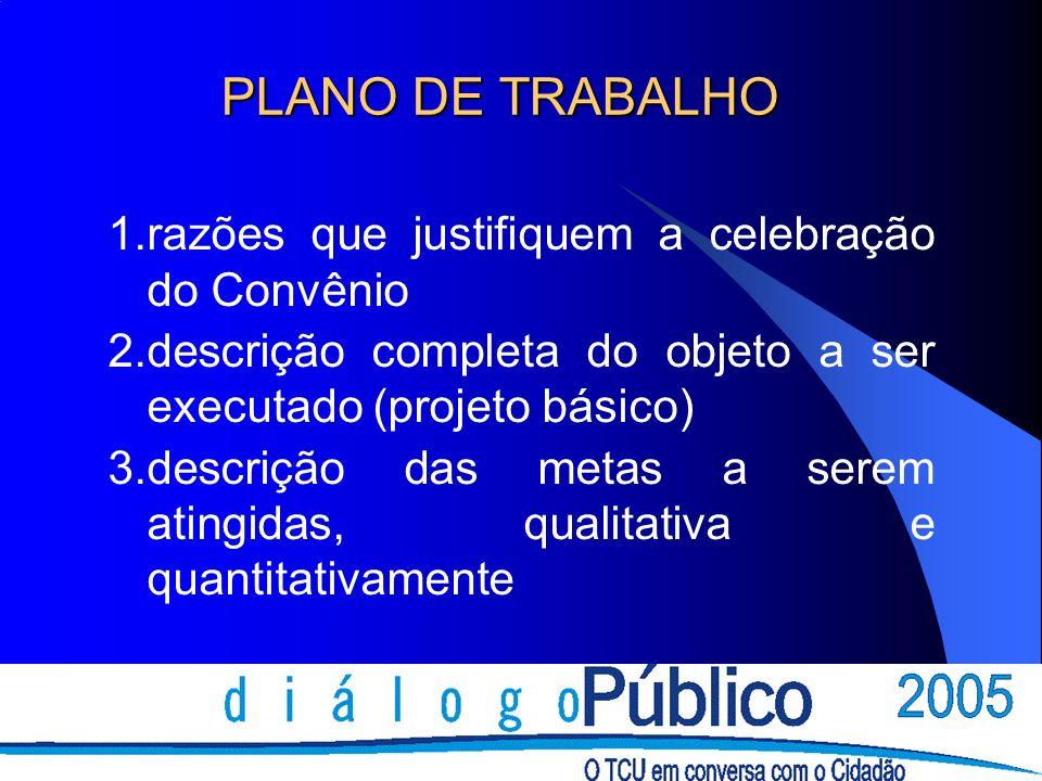 PLANO DE TRABALHO 1.razões que justifiquem a celebração do Convênio